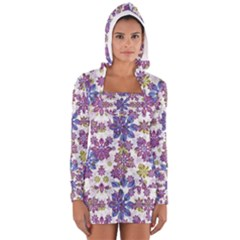 Stylized Floral Ornate Women s Long Sleeve Hooded T Shirt