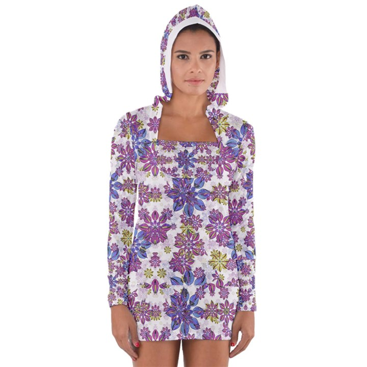 Stylized Floral Ornate Women s Long Sleeve Hooded T-shirt