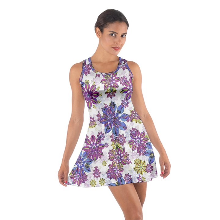 Stylized Floral Ornate Cotton Racerback Dress