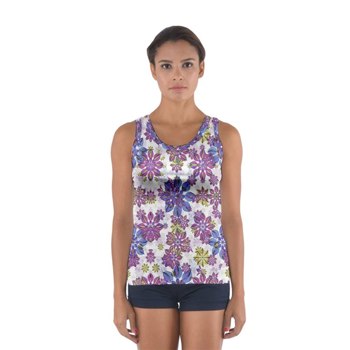 Stylized Floral Ornate Women s Sport Tank Top