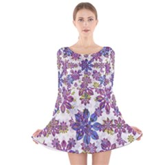 Stylized Floral Ornate Long Sleeve Velvet Skater Dress
