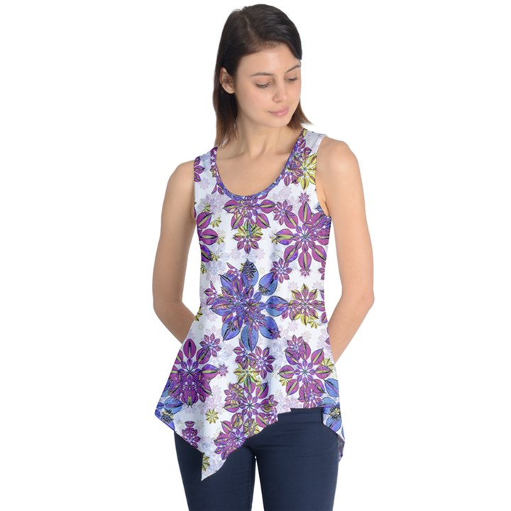 Stylized Floral Ornate Sleeveless Tunic