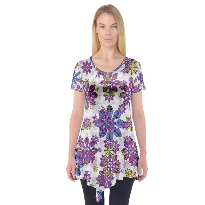 Stylized Floral Ornate Short Sleeve Tunic