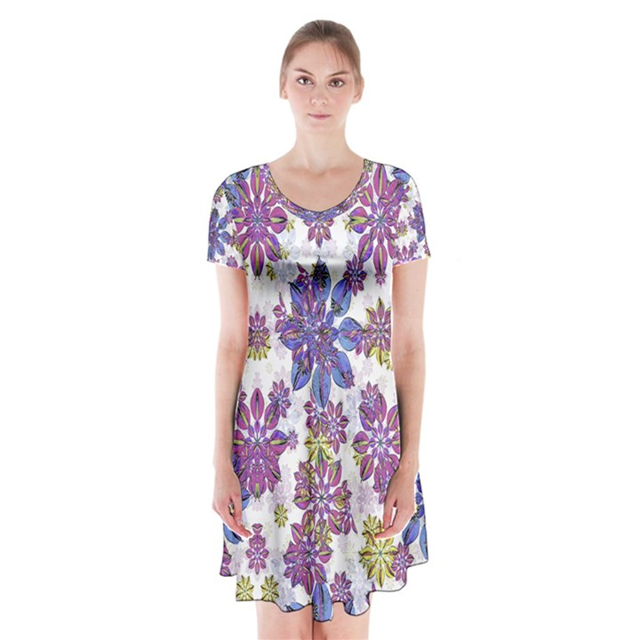 Stylized Floral Ornate Short Sleeve V-neck Flare Dress