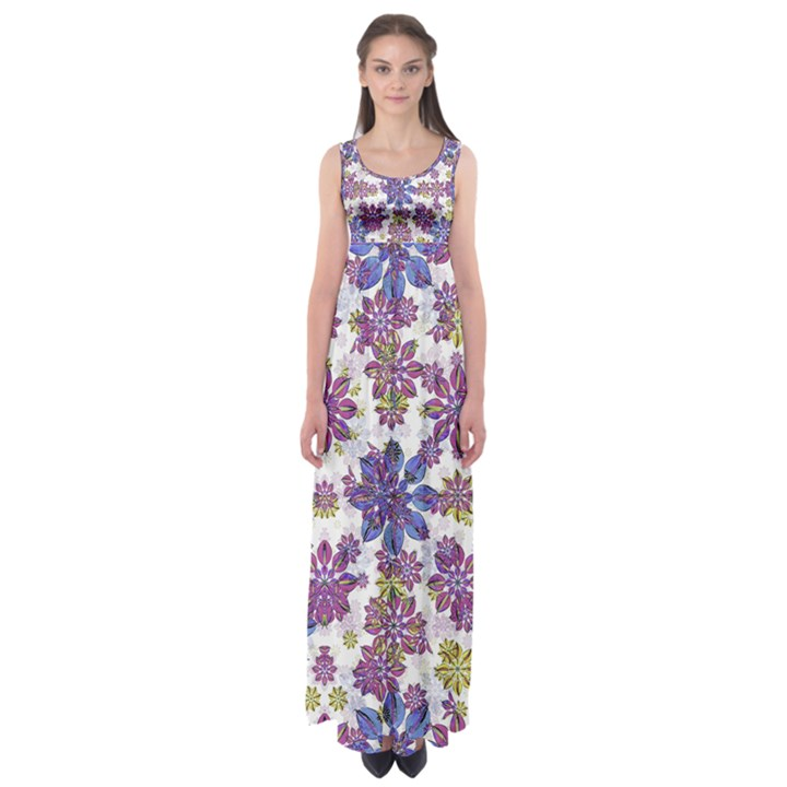 Stylized Floral Ornate Empire Waist Maxi Dress
