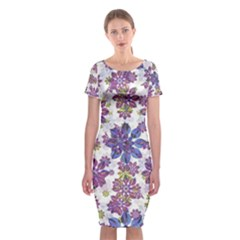 Stylized Floral Ornate Classic Short Sleeve Midi Dress