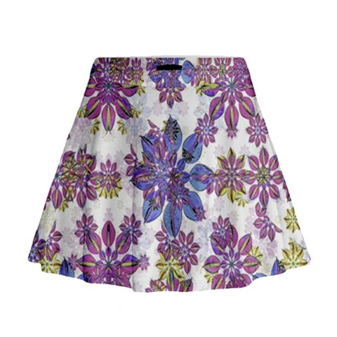 Stylized Floral Ornate Mini Flare Skirt