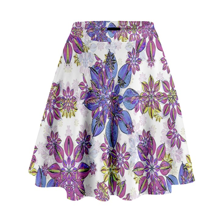 Stylized Floral Ornate High Waist Skirt