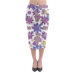 Stylized Floral Ornate Midi Pencil Skirt