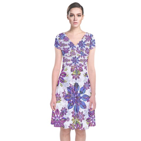 Stylized Floral Ornate Short Sleeve Front Wrap Dress