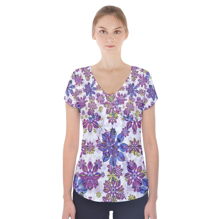 Stylized Floral Ornate Short Sleeve Front Detail Top