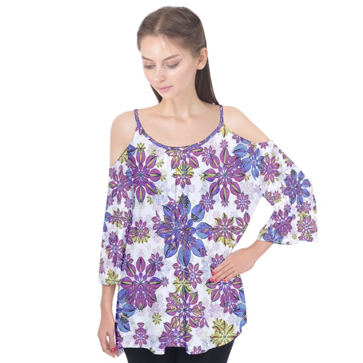 Stylized Floral Ornate Flutter Tees