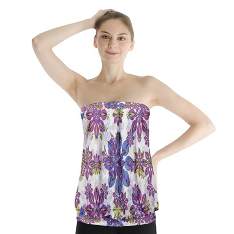 Stylized Floral Ornate Strapless Top