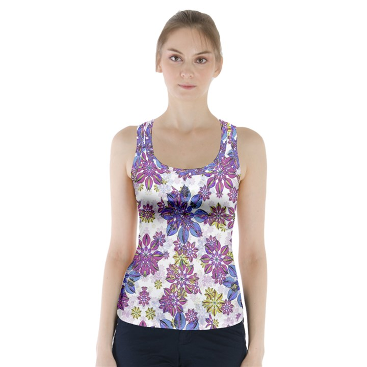 Stylized Floral Ornate Racer Back Sports Top