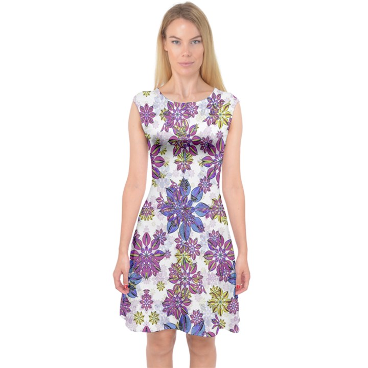 Stylized Floral Ornate Capsleeve Midi Dress