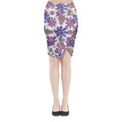 Stylized Floral Ornate Midi Wrap Pencil Skirt