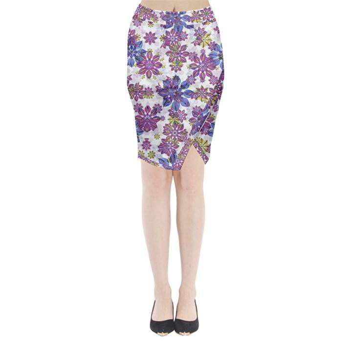 Stylized Floral Ornate Midi Wrap Pencil Skirt