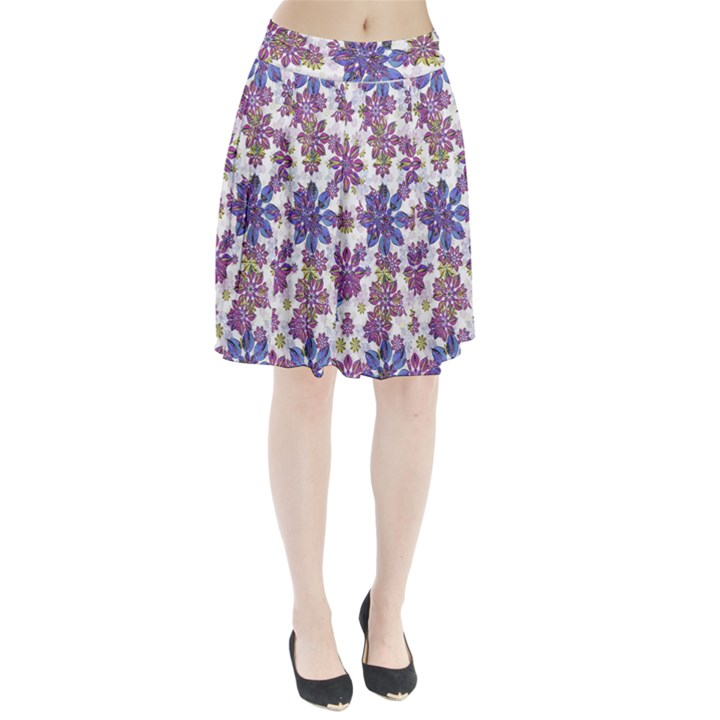 Stylized Floral Ornate Pleated Skirt