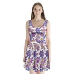 Stylized Floral Ornate Split Back Mini Dress