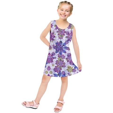 Stylized Floral Ornate Kids  Tunic Dress