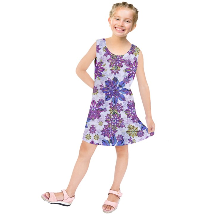 Stylized Floral Ornate Kids  Tunic Dress