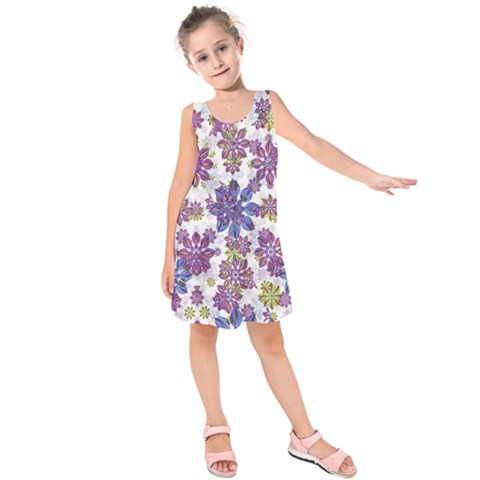 Stylized Floral Ornate Kids  Sleeveless Dress