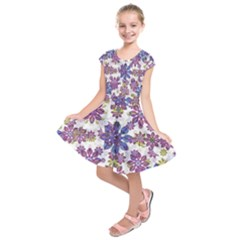 Stylized Floral Ornate Kids  Short Sleeve Dress