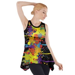 Crazy Multicolored Double Running Splashes Side Drop Tank Tunic