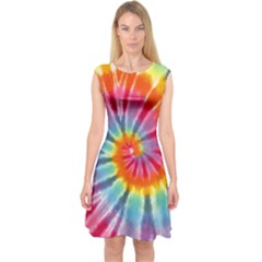 Tie Dye Capsleeve Midi Dress