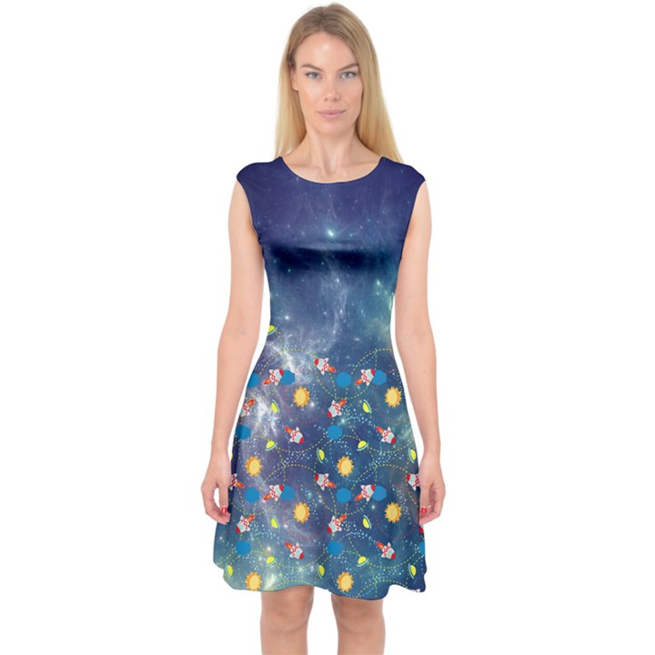 galaxy Capsleeve Midi Dress