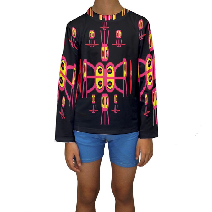 Alphabet Shirt R N R Kids  Long Sleeve Swimwear