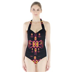 Alphabet Shirt R N R Halter Swimsuit