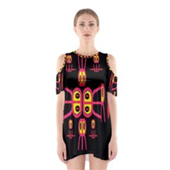 Alphabet Shirt R N R Cutout Shoulder Dress