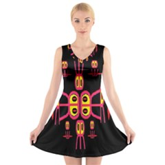 Alphabet Shirt R N R V-Neck Sleeveless Skater Dress