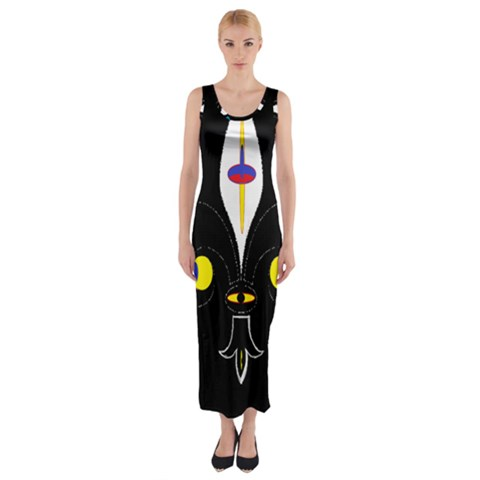 FLOWER OF LIFE TWO Fitted Maxi Dress