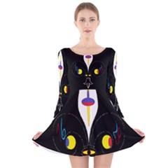 Flower Of Life Two Long Sleeve Velvet Skater Dress