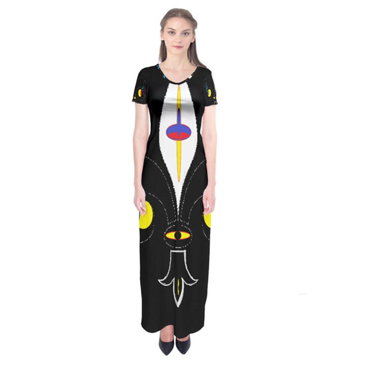 FLOWER OF LIFE TWO Short Sleeve Maxi Dress