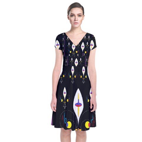 Clothing (25)gee8dvdynk,k;; Short Sleeve Front Wrap Dress