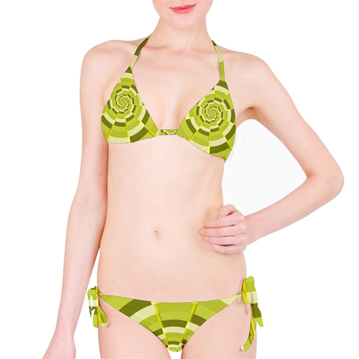 Crazy Dart Green Gold Spiral Bikini Set