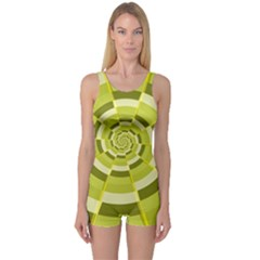 Crazy Dart Green Gold Spiral One Piece Boyleg Swimsuit