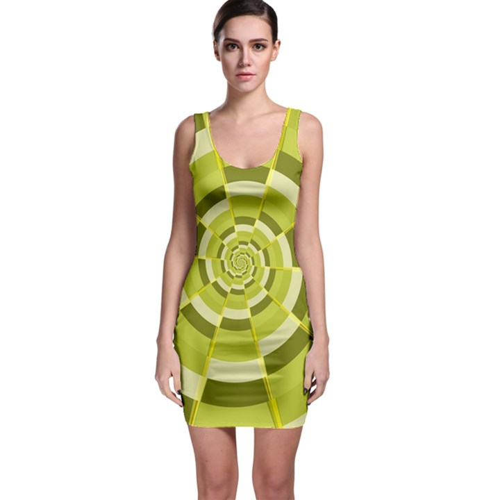 Crazy Dart Green Gold Spiral Sleeveless Bodycon Dress