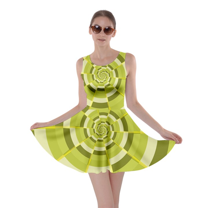 Crazy Dart Green Gold Spiral Skater Dress