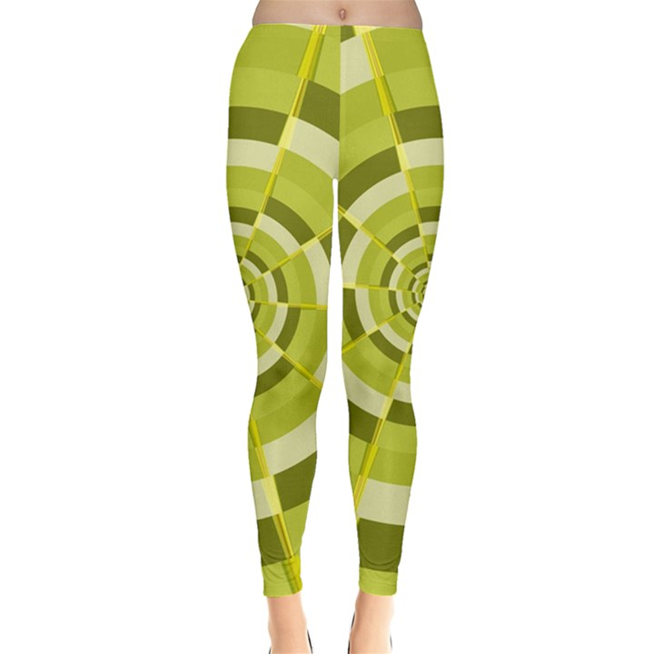 Crazy Dart Green Gold Spiral Leggings