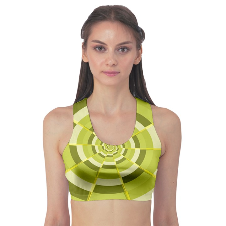 Crazy Dart Green Gold Spiral Sports Bra
