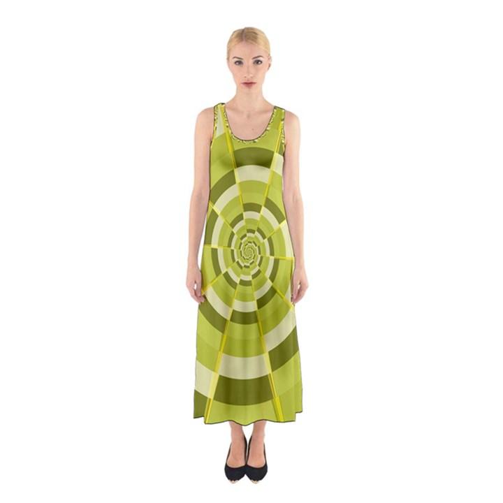 Crazy Dart Green Gold Spiral Sleeveless Maxi Dress