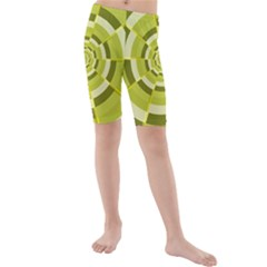 Crazy Dart Green Gold Spiral Kids  Mid Length Swim Shorts