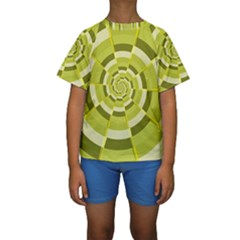 Crazy Dart Green Gold Spiral Kids  Short Sleeve Swimwear