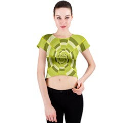 Crazy Dart Green Gold Spiral Crew Neck Crop Top
