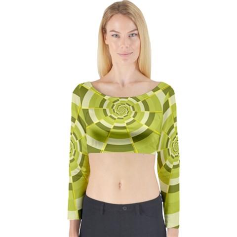 Crazy Dart Green Gold Spiral Long Sleeve Crop Top