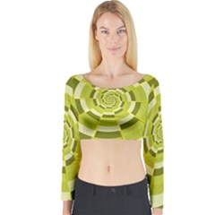 Crazy Dart Green Gold Spiral Long Sleeve Crop Top